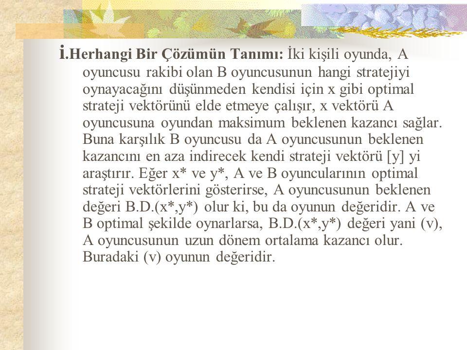 i.Herhangi Bir Çözümün Tanımı: İki kişili oyunda, A oyuncusu rakibi olan B oyuncusunun hangi stratejiyi oynayacağını düşünmeden kendisi için x gibi optimal strateji vektörünü elde etmeye çalışır, x vektörü A oyuncusuna oyundan maksimum beklenen kazancı sağlar. Buna karşılık B oyuncusu da A oyuncusunun beklenen kazancını en aza indirecek kendi strateji vektörü [y] yi araştırır. Eğer x* ve y*, A ve B oyuncularının optimal strateji vektörlerini gösterirse, A oyuncusunun beklenen değeri B.D.(x*,y*) olur ki, bu da oyunun değeridir. A ve B optimal şekilde oynarlarsa, B.D.(x*,y*) değeri yani (v), A oyuncusunun uzun dönem ortalama kazancı olur. Buradaki (v) oyunun değeridir.